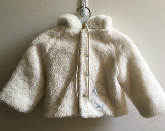 Vintage Little One White Furry Coat 6-12 Months Boy Girl