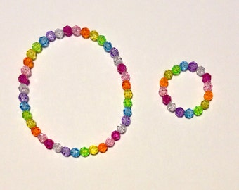 "8 Pastel Rainbow Necklace Bracelet Set for American Girl or 18"" Doll, Party Favor"