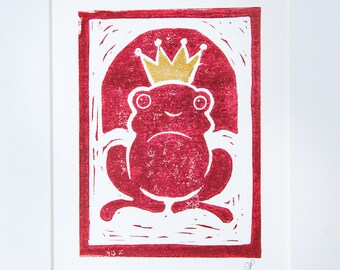 Mounted Frog Prince Print - Original Lino Art Print with Gold Detailing