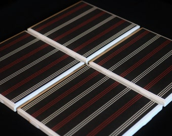 Black Tile Coasters ~ Striped Coasters ~ Red and Black Coasters ~ Tile Coasters ~ Handmade Coasters - 3C Styles and Prints ~ Custom Coasters