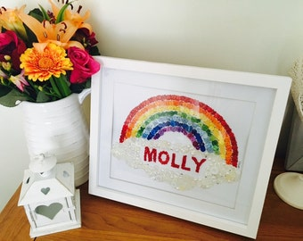 Personalised Rainbow Button Art