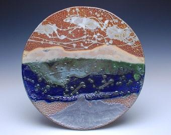 Large Ceramic Platter, Wall Hanging Platter, Handmade Salt Glazed Stoneware Pottery, by Chris Breuer