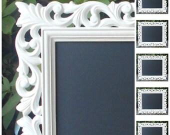 "Ornate Framed Chalkboard White Wedding/Memo/Menu Decor 13"" x 11"""