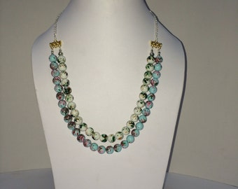 Blue & White Printed Pearls Baby Necklace