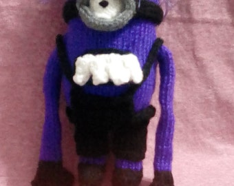 Knitted, Evil, minion, purple, toy,