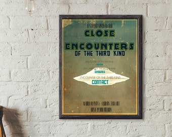 Close Encounters of the Third Kind Print, Retro Movie Poster  Pop Culture, Mid Century, TV Movie, Advertisting Poster