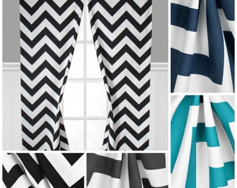 Black Charcoal Gray Navy Blue Turquoise Curtains Chevron Panels Window Treatments Stripe Curtain Panels Modern Home Decor