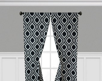 Geometric Curtains Tear Drop Trellis Panels Window Treatments Black Curtains Custom Living Room Dining Room Drapes
