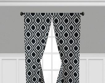 Black Geometric Curtain Panels Tear Drop Trellis Window Treatments Curtains Custom Living Room Dining