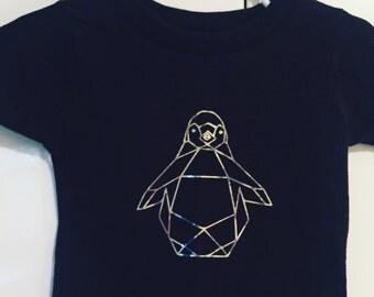 Trendy toddler geometric penguin t-shirt in black