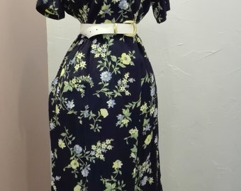 Navy vintage flower dress