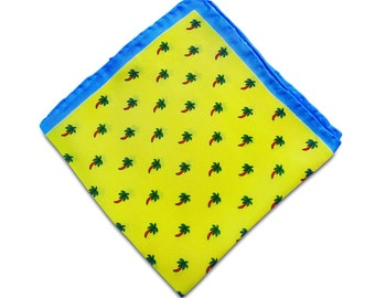 Yellow and Blue Silk Pocket Square