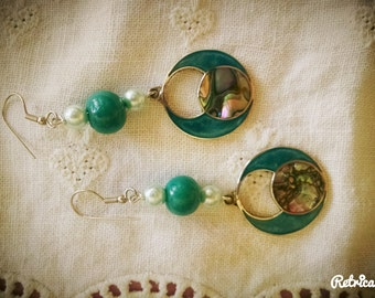 Upcycled Teal Flower Dangles