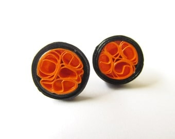 Quilled Earrings, Quilled Studs, Black and Orange Earrings, Stud Earrings, Beehive Quilling, Quilled Jewellery, Rockabilly Earrings, For Her