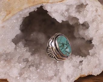 Sterling silver steer head ring with turquoise stone