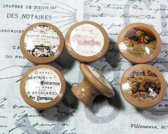 Hand Decorated Knobs Featuring Vintage French Decals. Choose From Opaque or Translucent Image. Cappuccino Colored. 6 Images Available