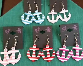 Nickel Free Striped Anchor Earrings