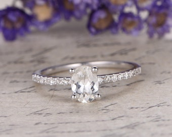 white Sapphire engagement ring with Diamond,Solid 14k white gold,promise ring,bridal,Oval custom made fine jewelry,prong set