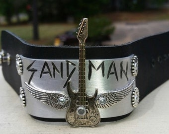 Leather and metal SANDMAN cuff
