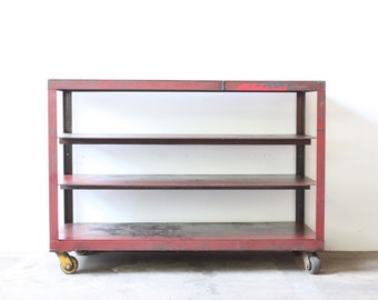 Red Industrial Rolling Cart