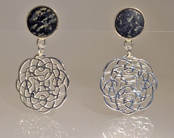 Silver earrings and pyrite