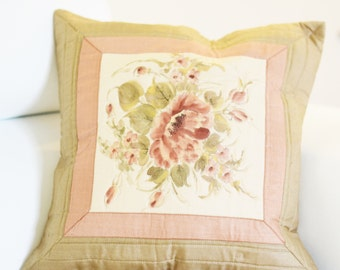 Handpainted Pillow Cover | Decorative PillowCover 16X16 | Accent Pillow Cover | Home Decor | Pastel Shades