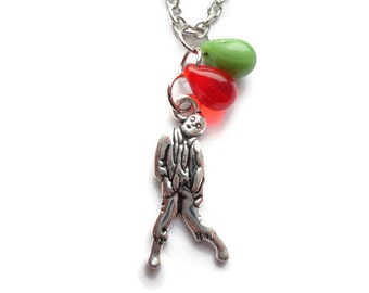 Zombie Necklace, Silver Zombie Necklace, Glass Bead, Czech Bead, Zombie Jewelry, Zombie Jewellery ZN98 Zombie