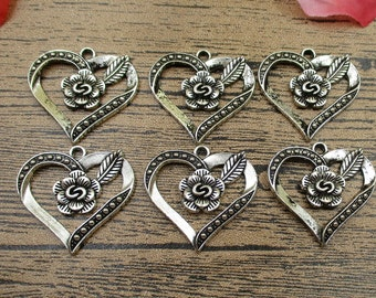 8 Heart charms, antique silver tone,rose flower -RS009