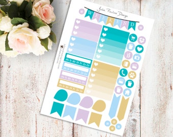 Planner Stickers for the vertical Erin Condren Life Planner - Blue Ancestor Kit Functional Icons Sheet