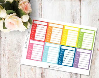 Planner Stickers for the vertical Erin Condren Life Planner - Stackable Sidebar Weekly Tracker in bright colors