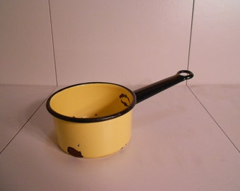 Vintage Yellow Enamelware Pot