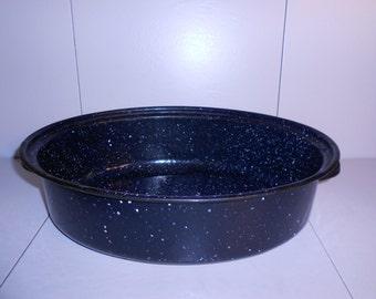 Blue & White Speckled Enamelware Roasting Pan.