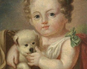 B106 Delightful Oil Portrait of Young Girl With Puppy in a Basket Early 1900s
