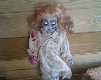 SALE! Ooak zombie child doll, scary, freaky, collectible with blood and brain. Walking dead inspired