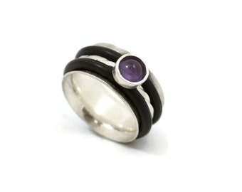 Rubber Onyx Ring, black rubber ring, Sterling Silver Ring, rubber, 925 silver ring, silver jewelry, purple, rubber jewelry, black ring, ring