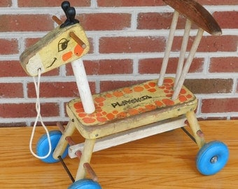 Vintage Wooden Playskool Ride On Giraffe Display Toy