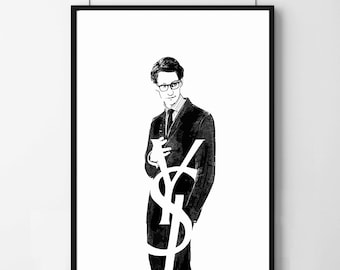 Poster poster Yves saint laurent, minimalist and original decoration for the House.