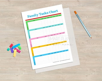 "Family tasks chart, planner insert, printable. House chore plan. A4 & US Letter (8.5"" x 11"") Size, Portrait. Instant download."