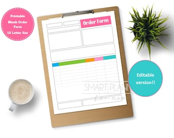 Editable and printable blank order form. Planner insert or for binder. US Letter Size, Etsy seller form. Tracking template. Instant download