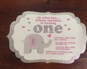Elephant 1st Birthday - Baby Girl Invitation