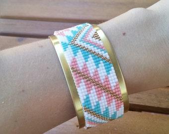 Sunset - woven beaded bracelet