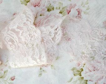 """3.25"""" Wide Light Pale Pink Vintage Floral Lace Trim"""