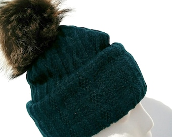 Pompom fur recycled (turquoise) wool hat with fur hat