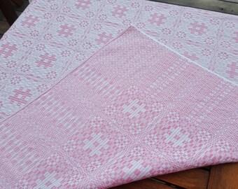 Swedish vintage hand vowen pink linen tablecloth, traditional folks motif, scandinavian design mid century modern