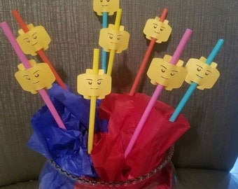 LEGO party straw toppers!