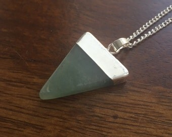 Aventurine Natural Crystal Triangle Necklace- The Creative One