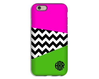 Monogram iPhone 7/7 Plus case, pink and green iPhone X case, iPhone 8/8 Plus case, chevron iphone 6s/6s Plus/6/6 Plus case, customized gift