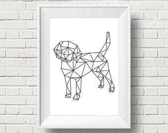 Scandinavian Dog Wall Art Print. Minimalist Dog Poster. Geometric Art Print. Decor Print. Instant Download. 68x83cm