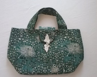 "Lovely ""New"" Vintage Emerald Green Silk Brocade Evening Bag"