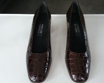 """Vintage Stuart Weitzman Brown Patent Leather """"Croc"""" Pumps Size 8 1/2 B"""